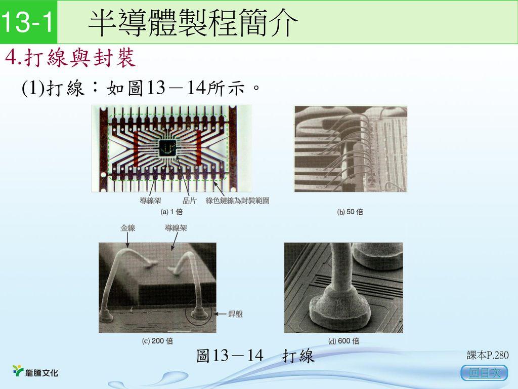 13-1 半導體製程簡介 4.打線與封裝 (1)打線:如圖13-14所示。 圖13-14 打線 課本P.280 回目次