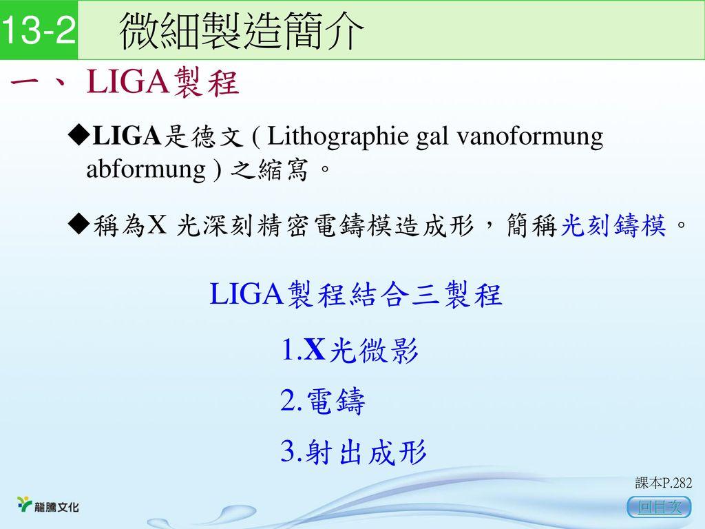 13-2 微細製造簡介 一、 LIGA製程 LIGA製程結合三製程 1.X光微影 2.電鑄 3.射出成形