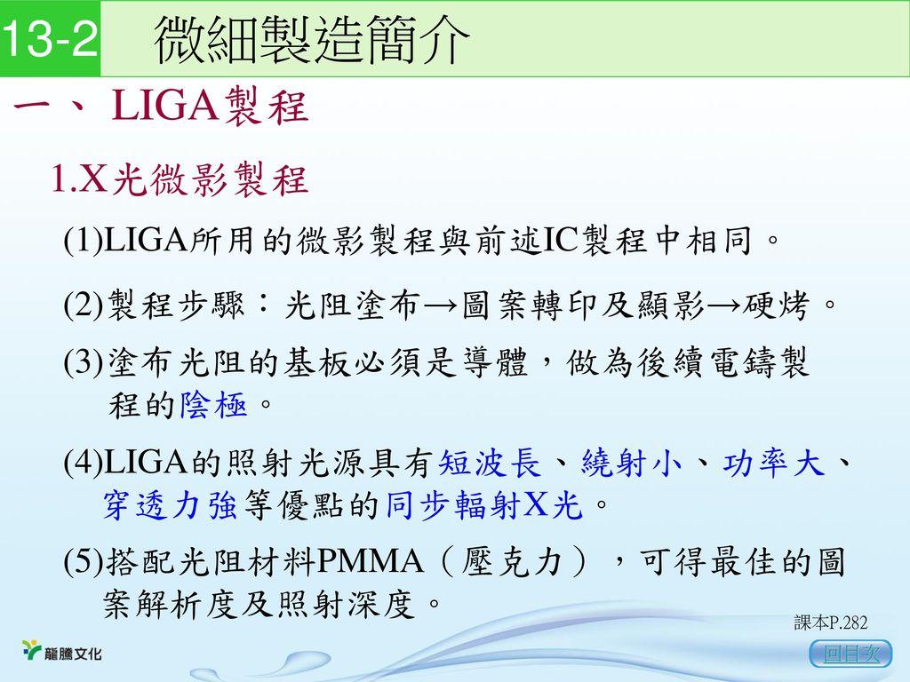 13-2 微細製造簡介 一、 LIGA製程 1.X光微影製程 (1)LIGA所用的微影製程與前述IC製程中相同。