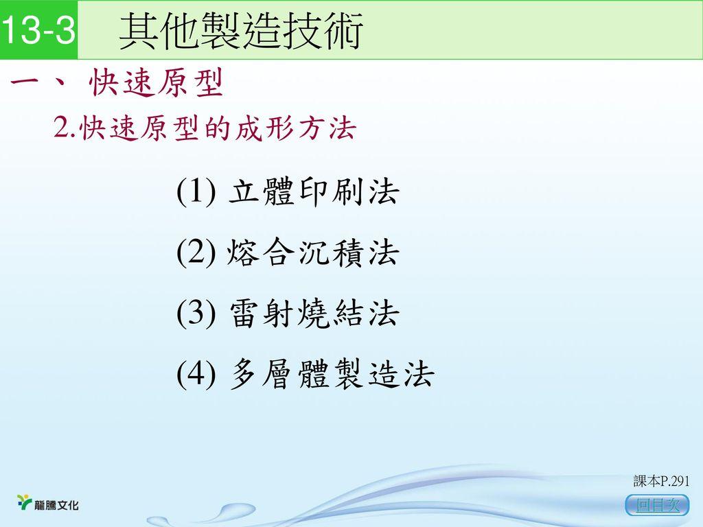 13-3 其他製造技術 一、 快速原型 (1) 立體印刷法 (2) 熔合沉積法 (3) 雷射燒結法 (4) 多層體製造法
