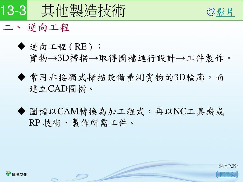 13-3 其他製造技術 二、 逆向工程 ◎影片 逆向工程 ( RE ) : 實物→3D掃描→取得圖檔進行設計→工件製作。