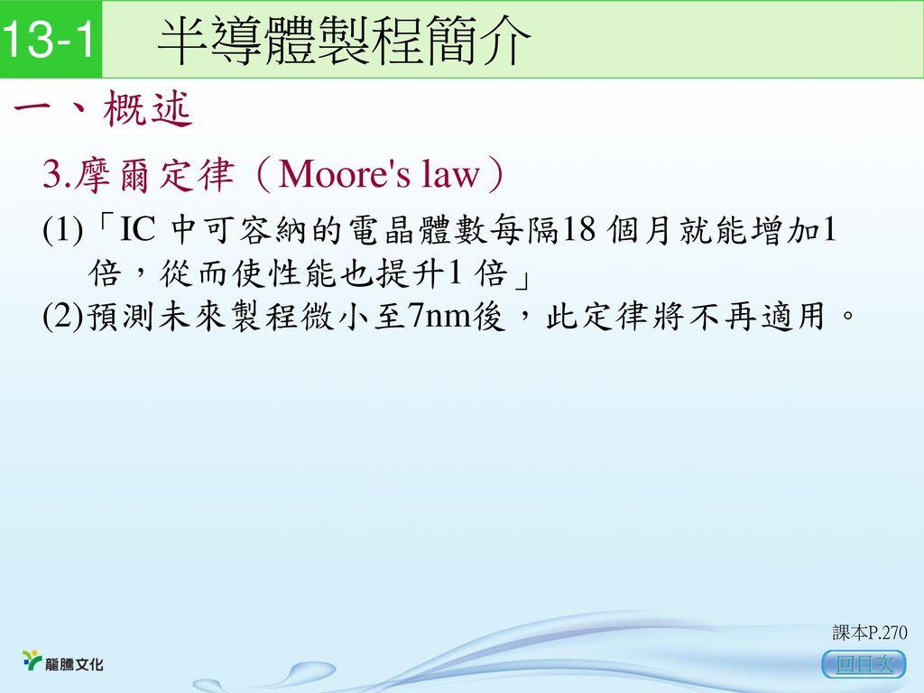 13-1 半導體製程簡介 一、概述 3.摩爾定律(Moore s law)