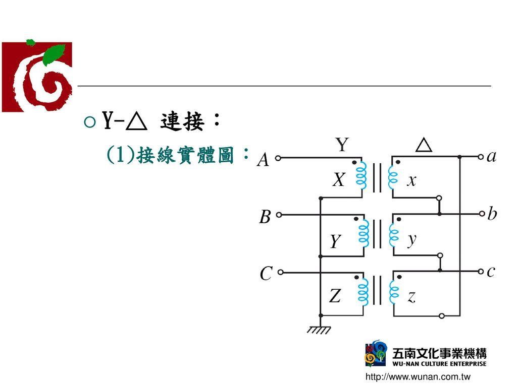 Y-△ 連接: (1)接線實體圖: