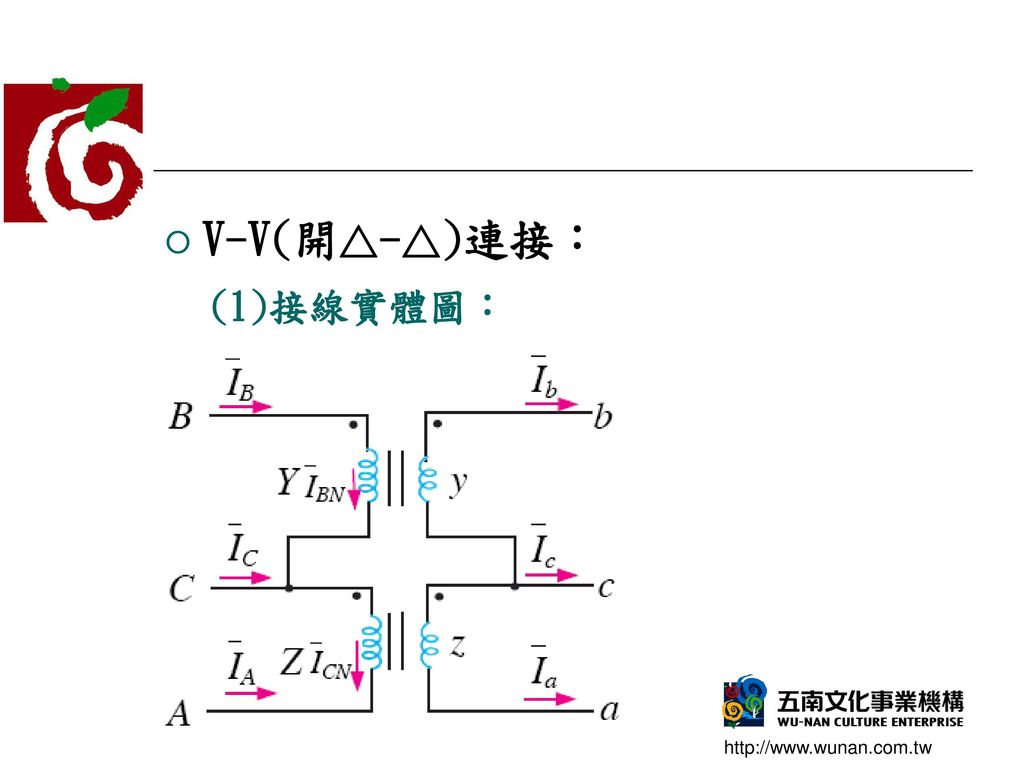 V-V(開△-△)連接: (1)接線實體圖: