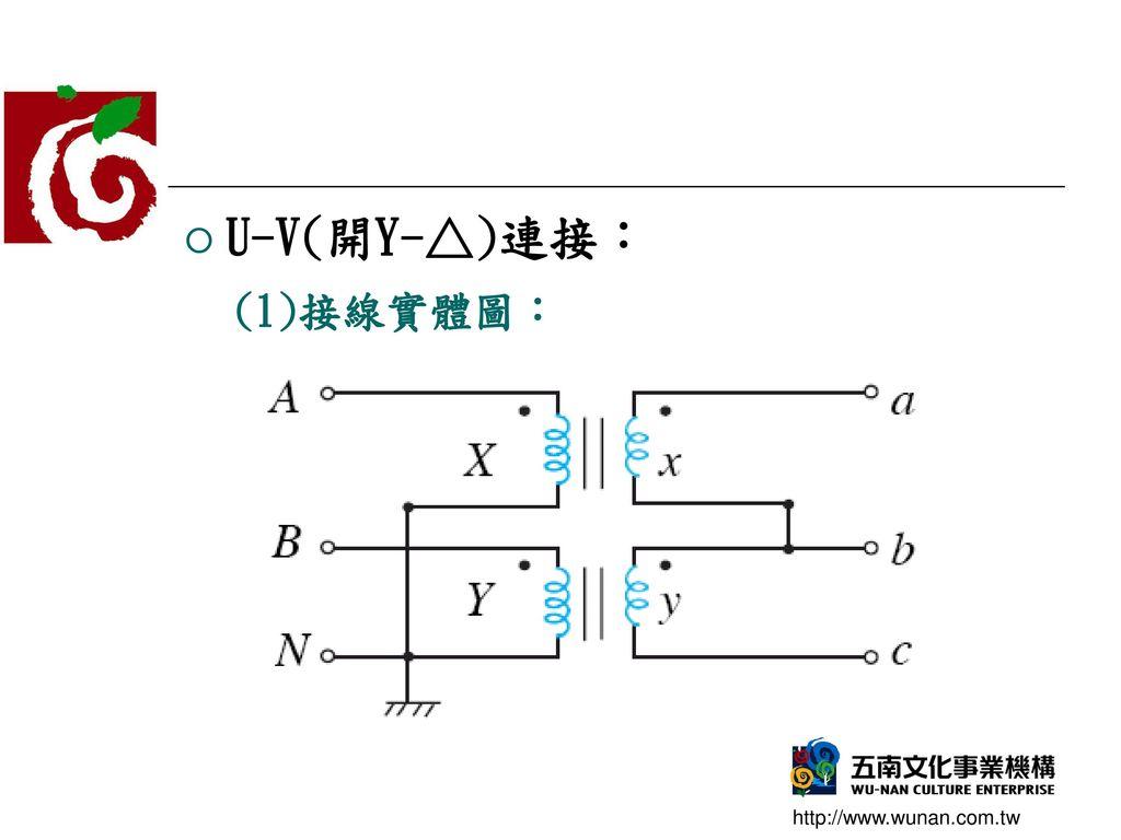 U-V(開Y-△)連接: (1)接線實體圖:
