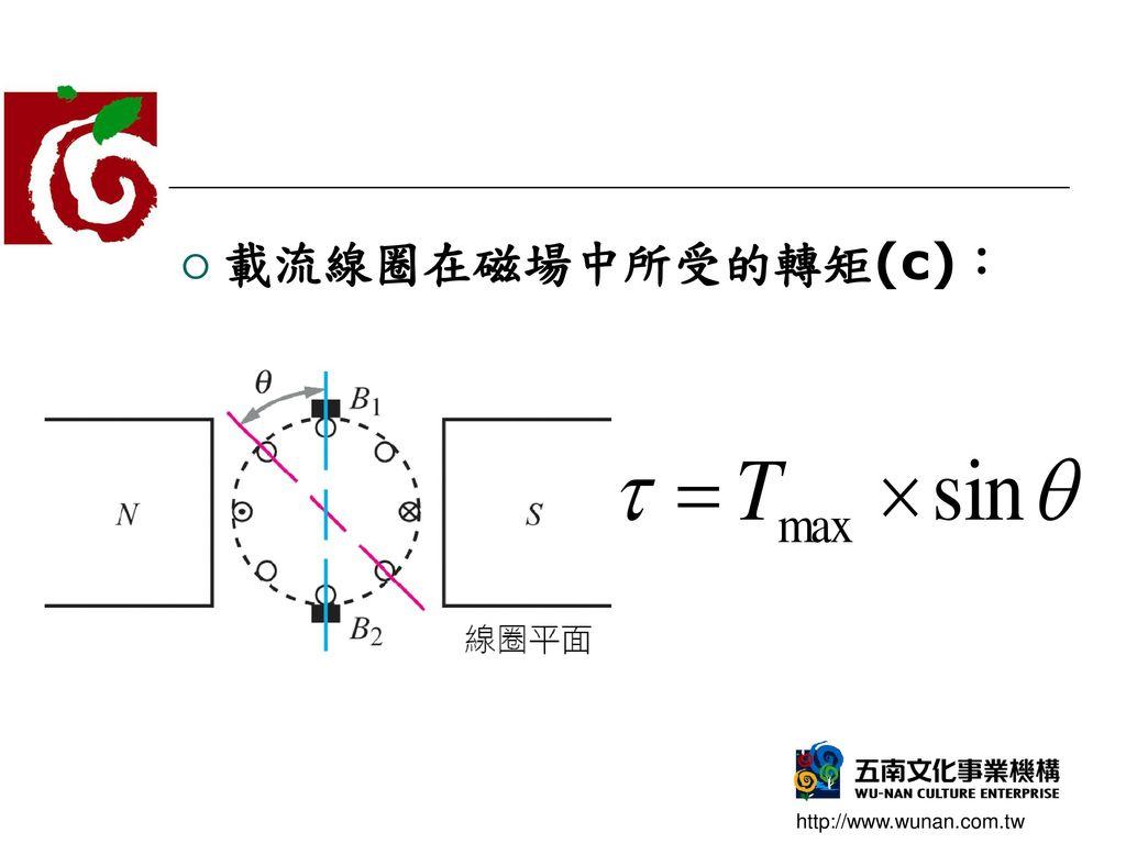 載流線圈在磁場中所受的轉矩(c):