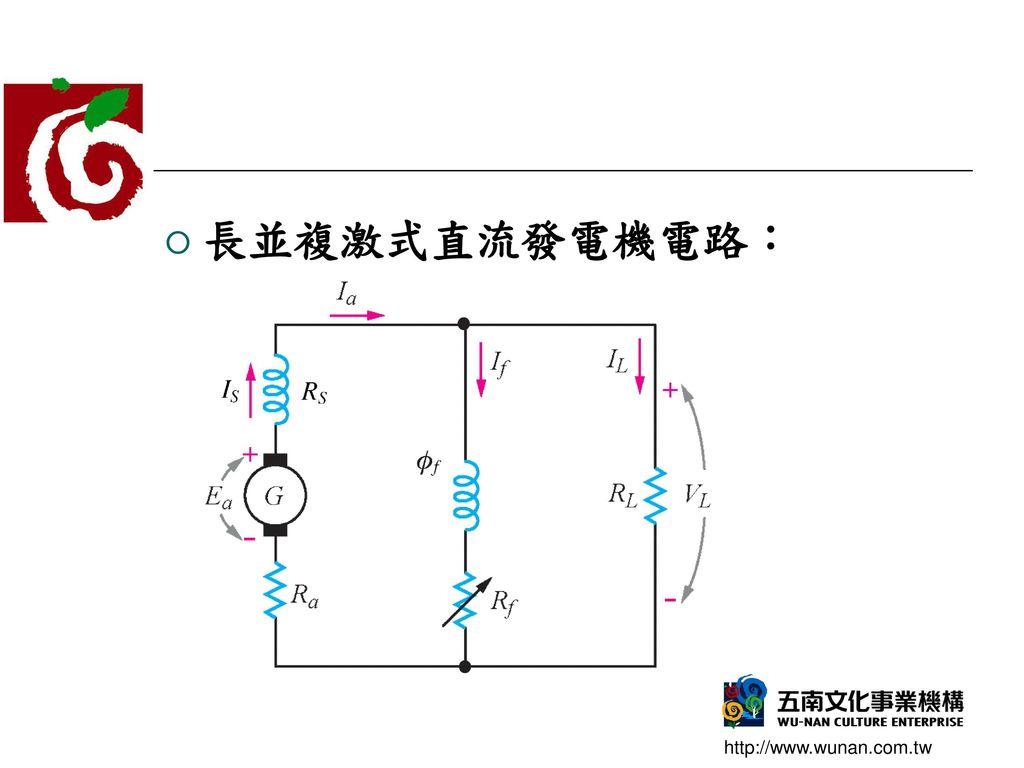 長並複激式直流發電機電路: