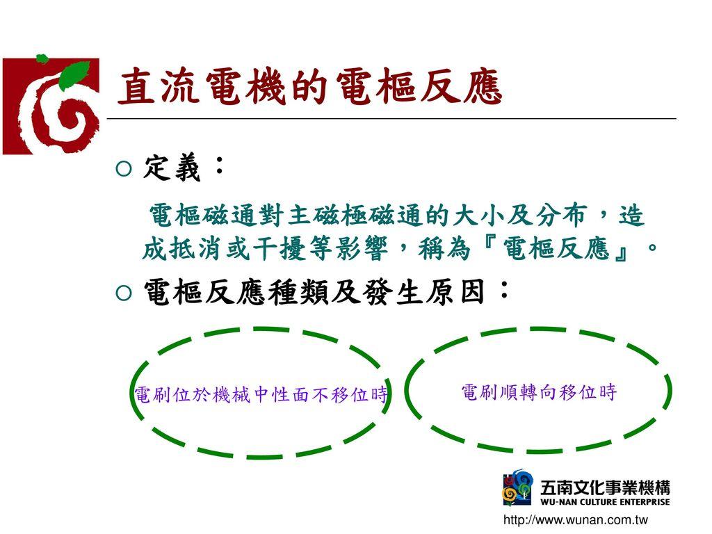 直流電機的電樞反應 定義: 電樞磁通對主磁極磁通的大小及分布,造成抵消或干擾等影響,稱為『電樞反應』。 電樞反應種類及發生原因: