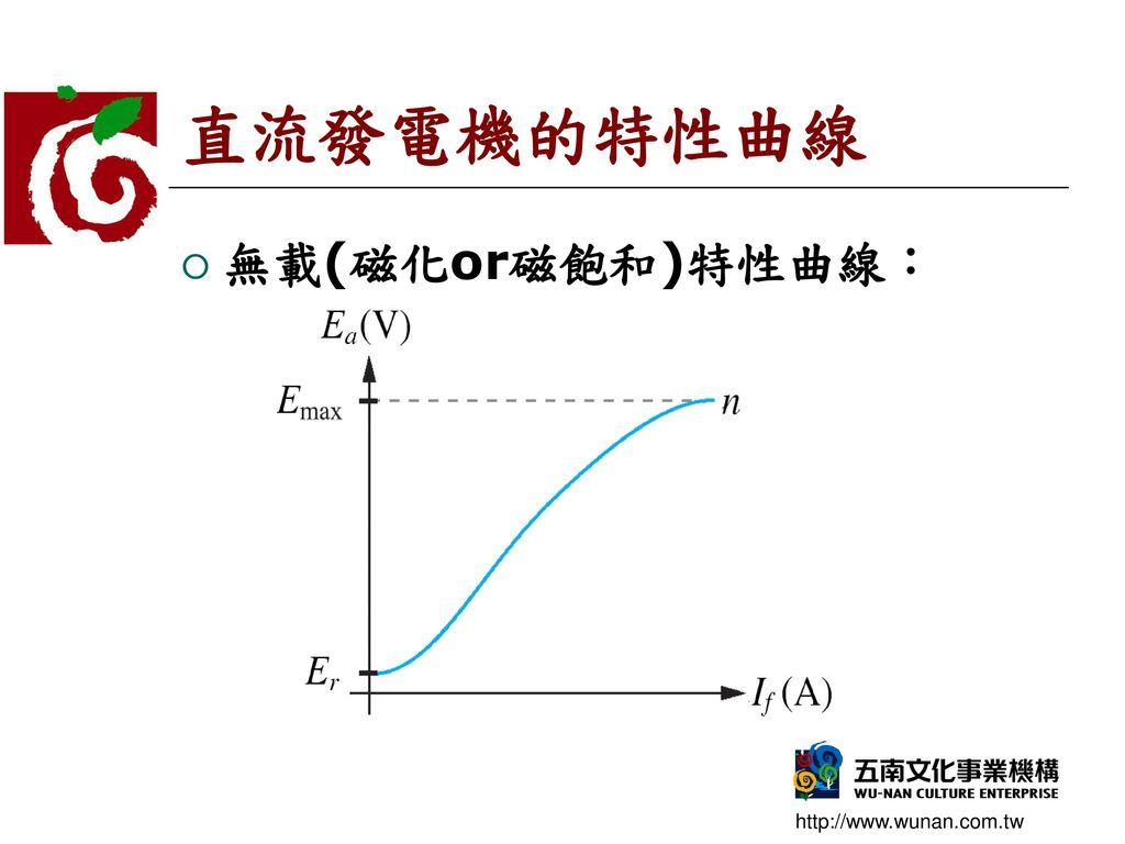 直流發電機的特性曲線 無載(磁化or磁飽和)特性曲線: