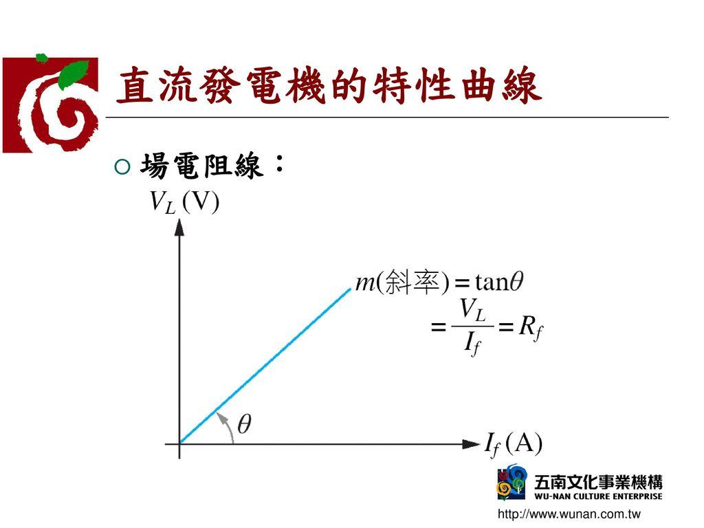 直流發電機的特性曲線 場電阻線: