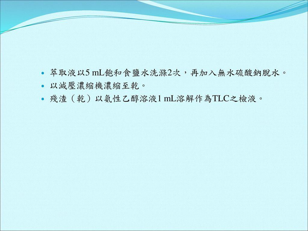 萃取液以5 mL飽和食鹽水洗滌2次,再加入無水硫酸鈉脫水。
