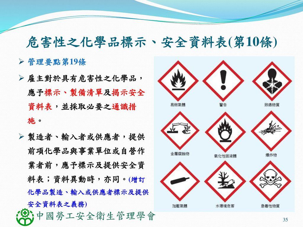危害性之化學品標示、安全資料表(第10條) 管理要點第19條