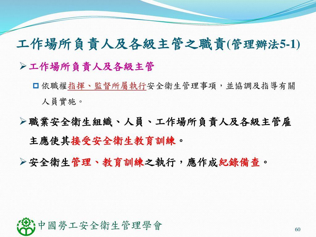 工作場所負責人及各級主管之職責(管理辦法5-1)