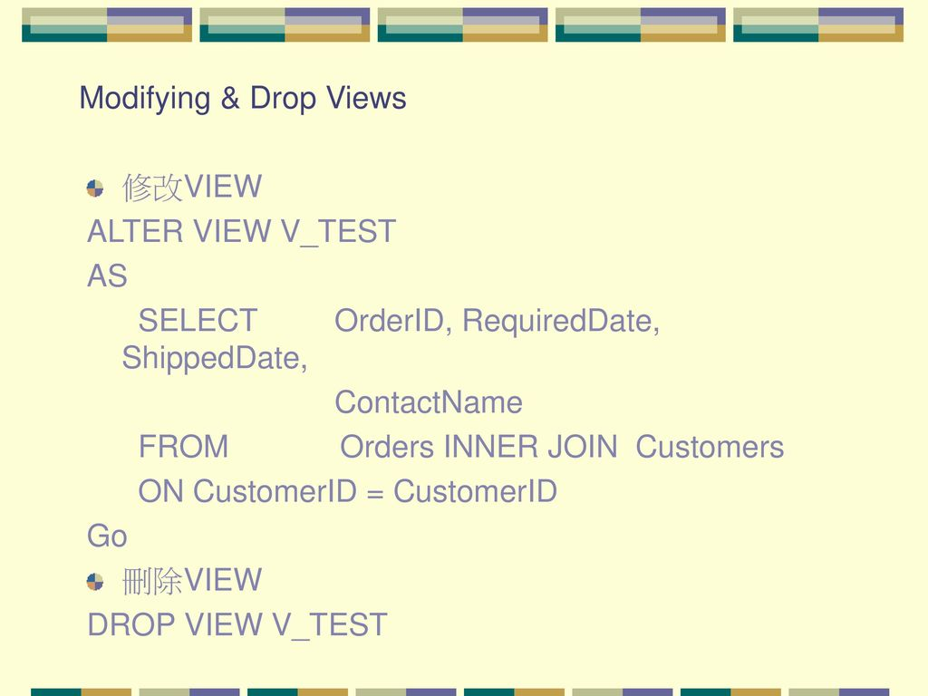 Modifying & Drop Views 修改VIEW. ALTER VIEW V_TEST. AS. SELECT OrderID, RequiredDate, ShippedDate,