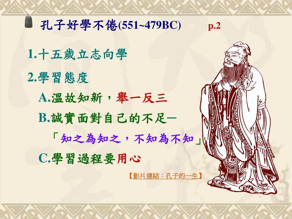 孔子好學不倦(551~479BC) p.2 1.十五歲立志向學. 2.學習態度 A.溫故知新,舉一反三 B.誠實面對自己的不足─ 「知之為知之,不知為不知」 C.學習過程要用心.