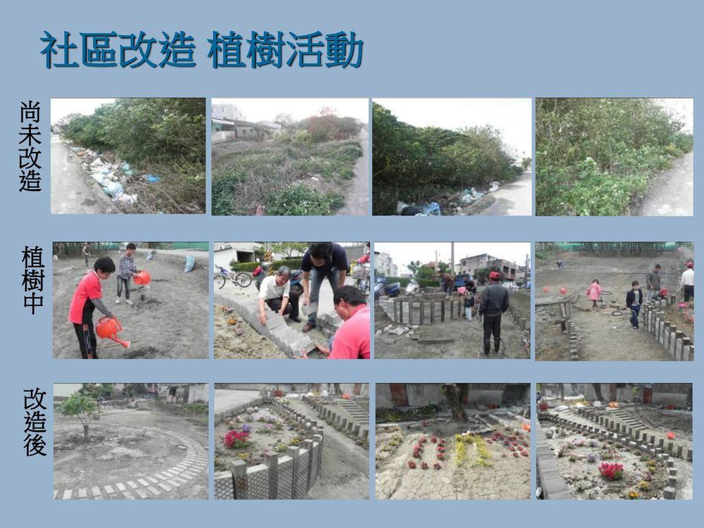 社區改造 植樹活動 尚未改造 植樹中 改造後