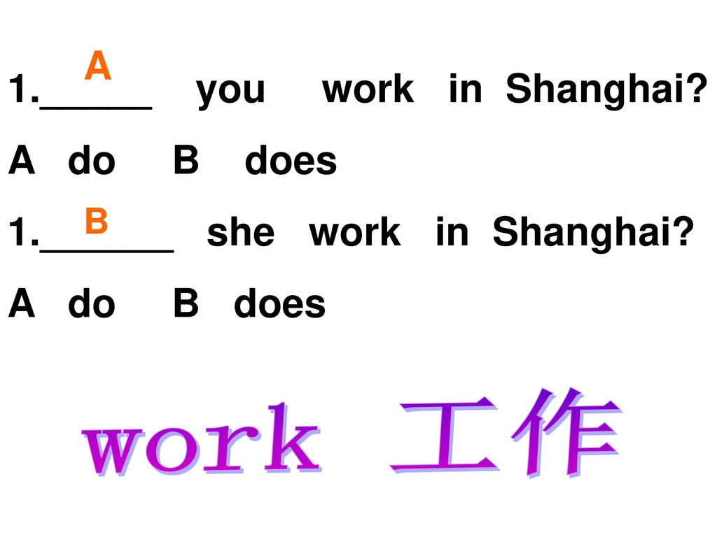 work 工作 A _____ you work in Shanghai A do B does