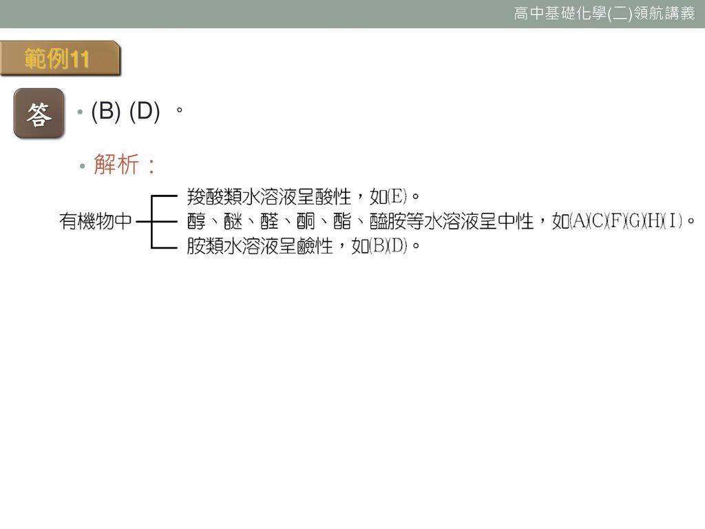 範例11 答 (B) (D) 。 解析: