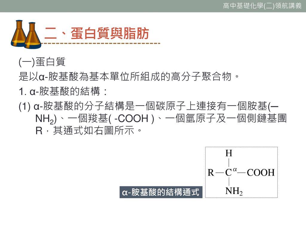 二、蛋白質與脂肪 (一)蛋白質 是以α-胺基酸為基本單位所組成的高分子聚合物。 1. α-胺基酸的結構: (1) α-胺基酸的分子結構是一個碳原子上連接有一個胺基(─ NH2)、一個羧基( -COOH )、一個氫原子及一個側鏈基團R,其通式如右圖所示。