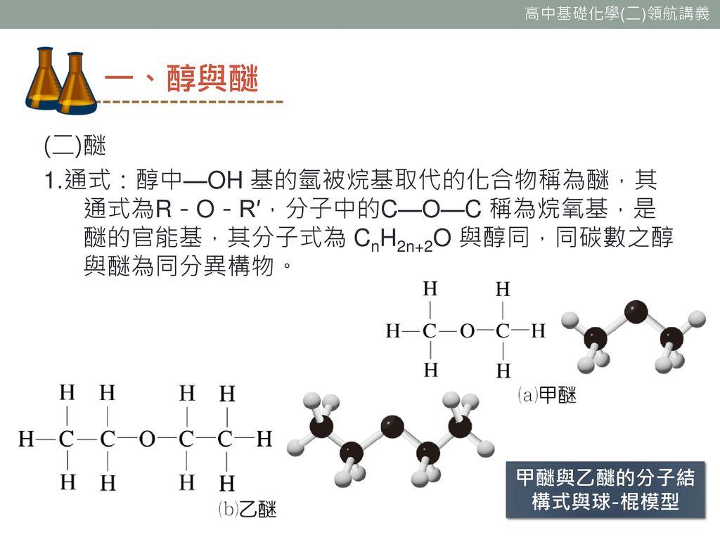 一、醇與醚 (二)醚 1.通式:醇中—OH 基的氫被烷基取代的化合物稱為醚,其通式為R-O-R′,分子中的C—O—C 稱為烷氧基,是醚的官能基,其分子式為 CnH2n+2O 與醇同,同碳數之醇與醚為同分異構物。