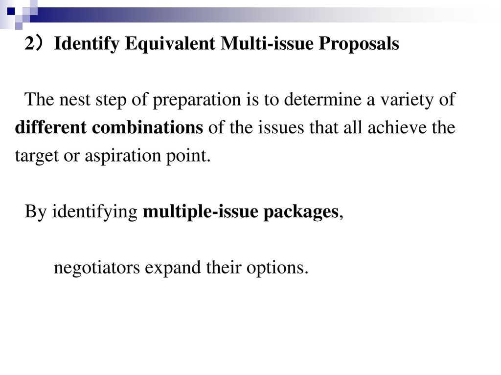 2)Identify Equivalent Multi-issue Proposals