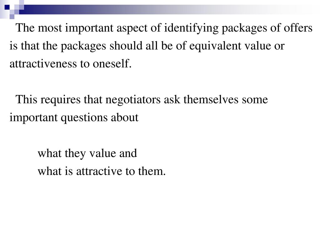 The most important aspect of identifying packages of offers