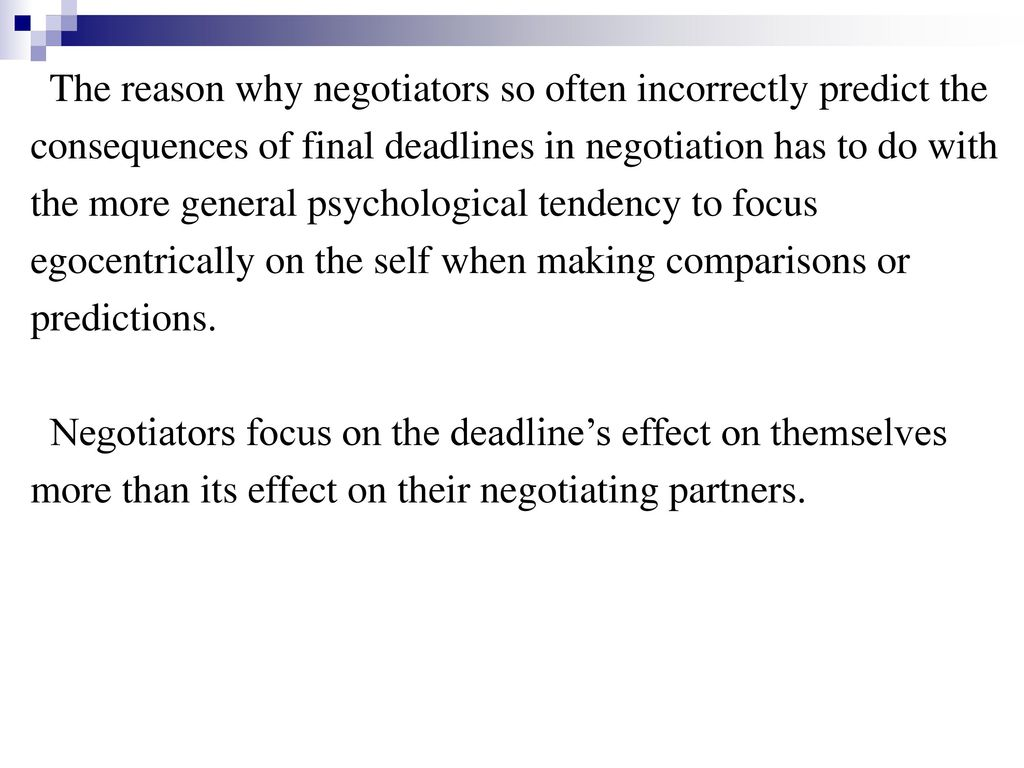 The reason why negotiators so often incorrectly predict the