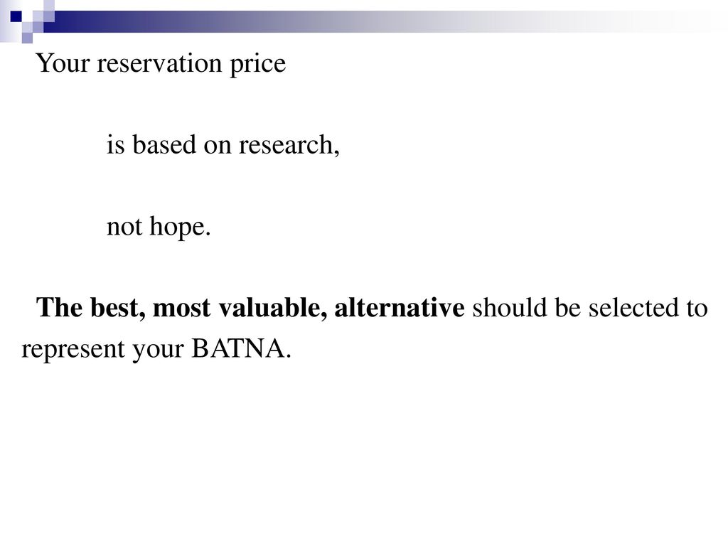 Your reservation price
