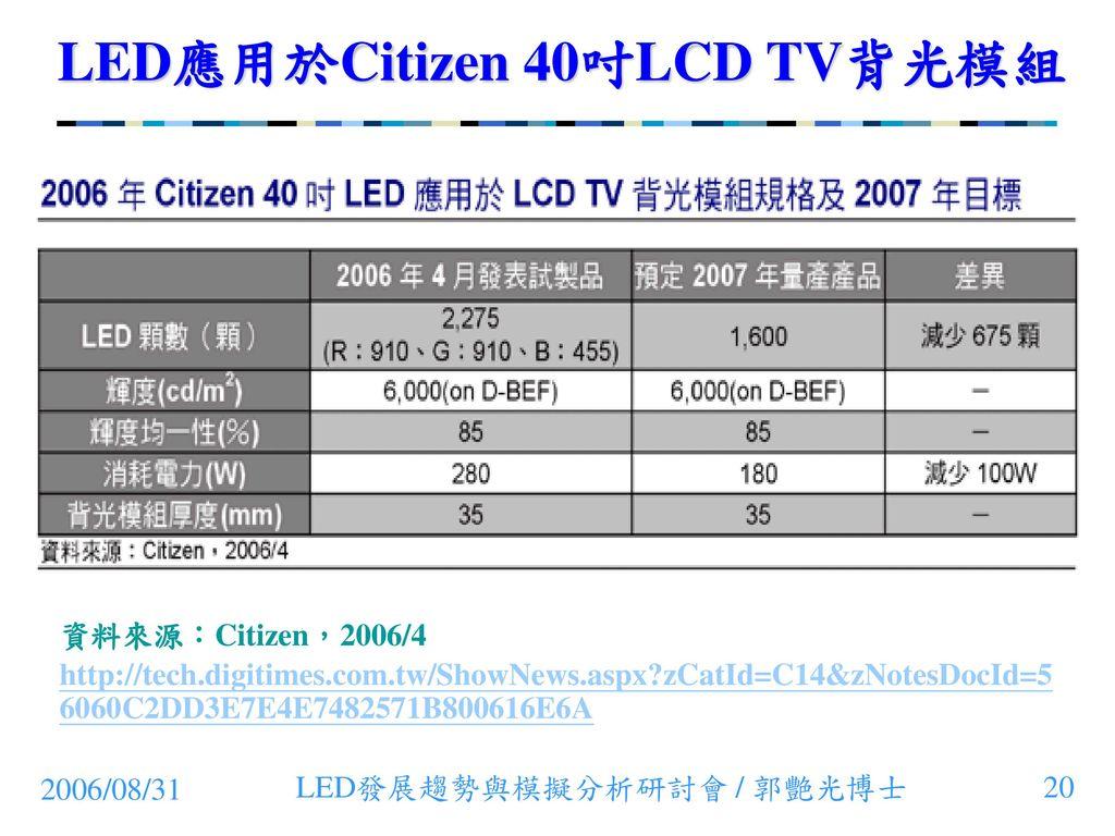 LED應用於Citizen 40吋LCD TV背光模組