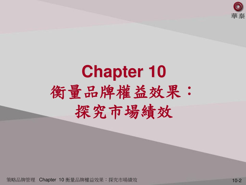 Chapter 10 衡量品牌權益效果: 探究市場績效