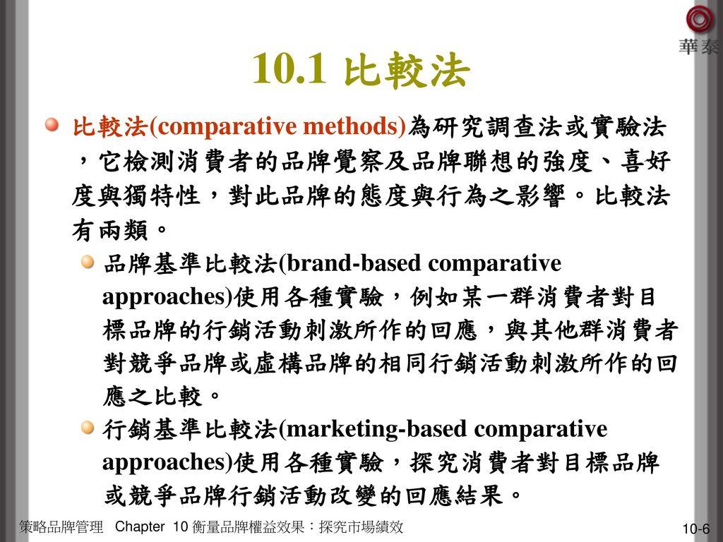 10.1 比較法 比較法(comparative methods)為研究調查法或實驗法,它檢測消費者的品牌覺察及品牌聯想的強度、喜好度與獨特性,對此品牌的態度與行為之影響。比較法有兩類。