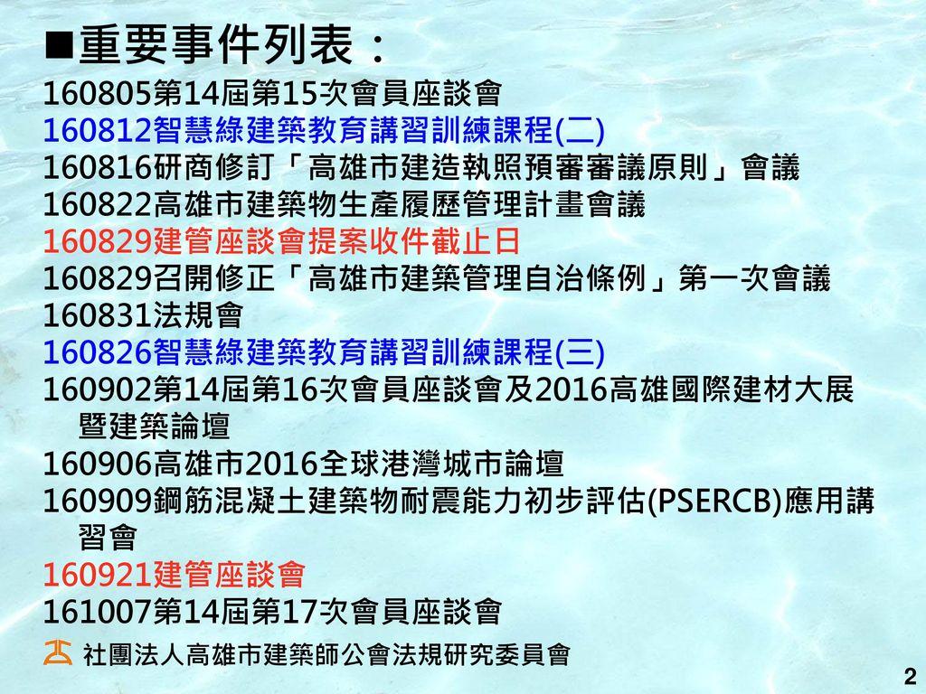 重要事件列表: 160805第14屆第15次會員座談會 160812智慧綠建築教育講習訓練課程(二)