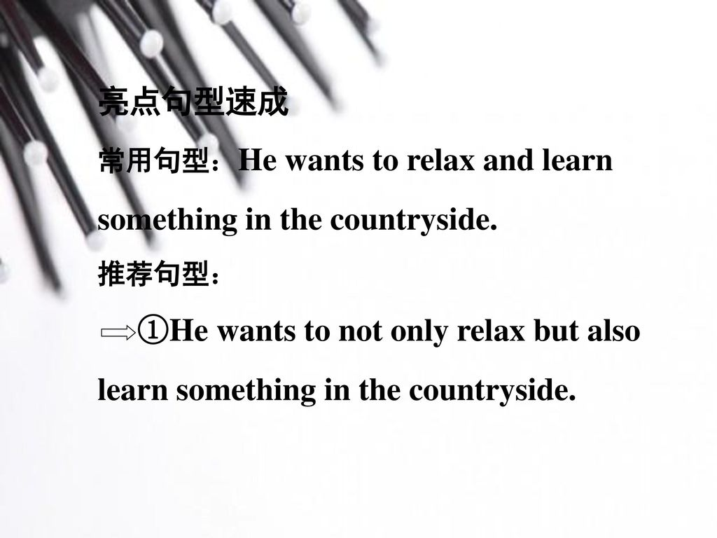 亮点句型速成 常用句型:He wants to relax and learn something in the countryside. 推荐句型: