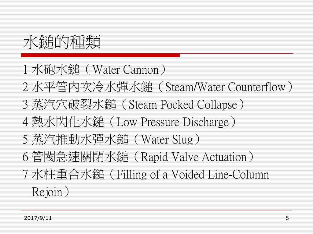 水鎚的種類 1 水砲水鎚(Water Cannon) 2 水平管內次冷水彈水鎚(Steam/Water Counterflow)