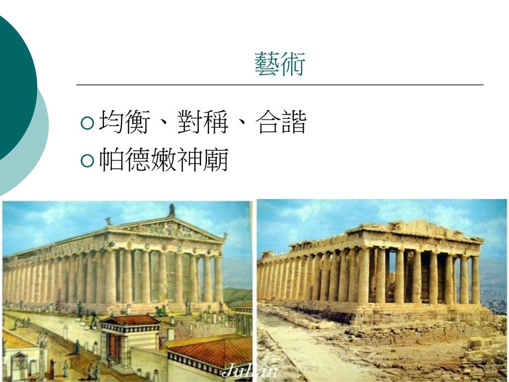 藝術 均衡、對稱、合諧 帕德嫩神廟