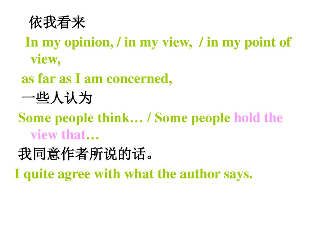 依我看来 In my opinion, / in my view, / in my point of view, as far as I am concerned, 一些人认为. Some people think… / Some people hold the view that…