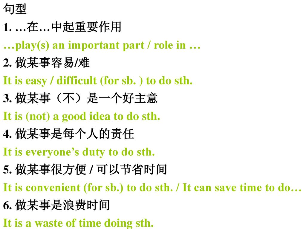 句型 1. …在…中起重要作用. …play(s) an important part / role in … 2. 做某事容易/难. It is easy / difficult (for sb. ) to do sth.