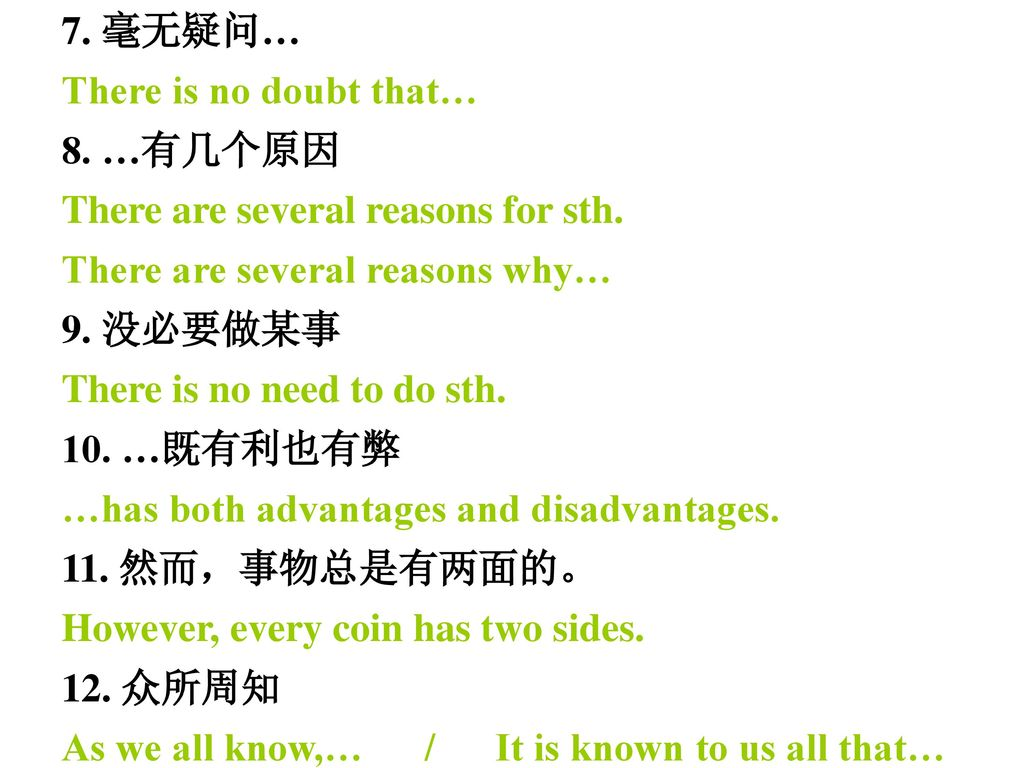 7. 毫无疑问… There is no doubt that… 8. …有几个原因. There are several reasons for sth. There are several reasons why…