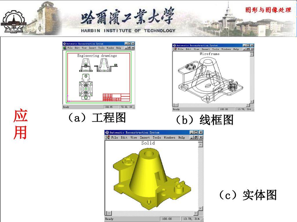 应用 (a)工程图 (b)线框图 (c)实体图