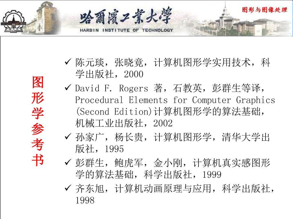 图 形 学 参 考 书 陈元琰,张晓竟,计算机图形学实用技术,科学出版社,2000