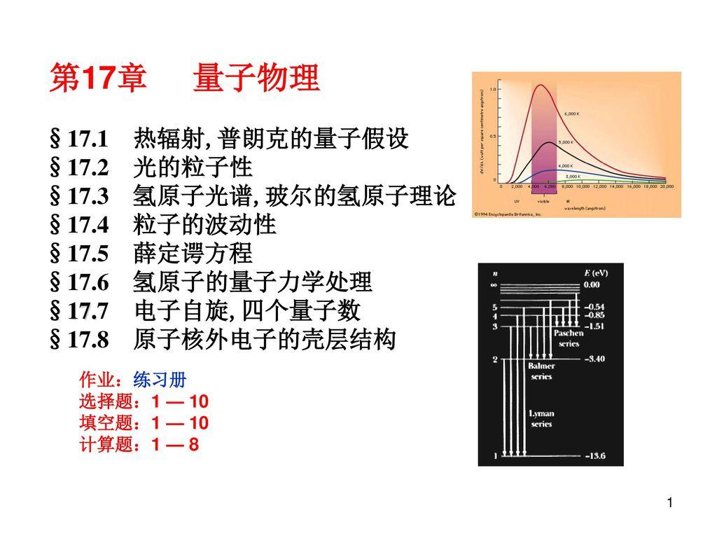 第17章 量子物理 §17.1 热辐射,普朗克的量子假设 §17.2 光的粒子性 §17.3 氢原子光谱,玻尔的氢原子理论