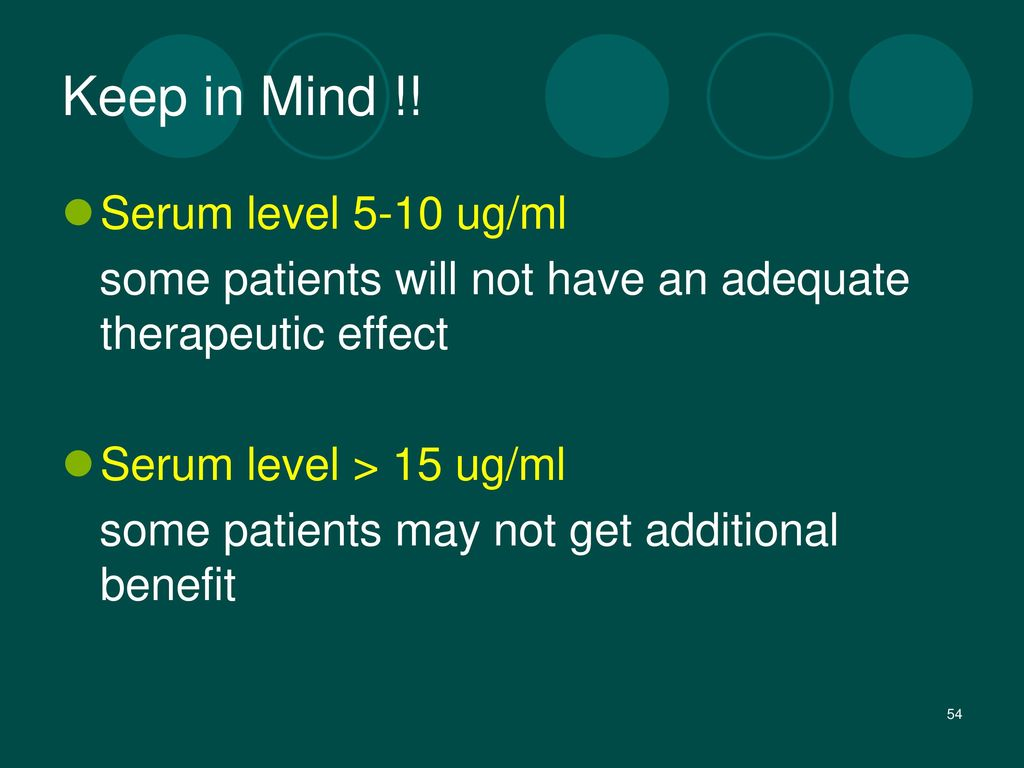 Keep in Mind !! Serum level 5-10 ug/ml