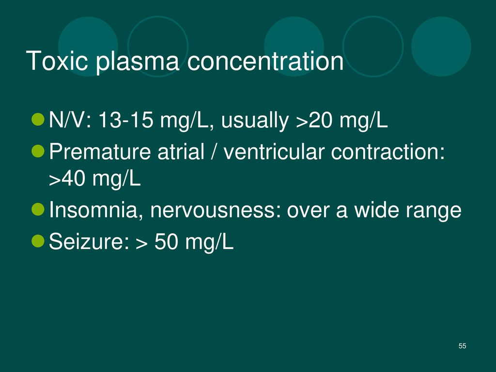Toxic plasma concentration