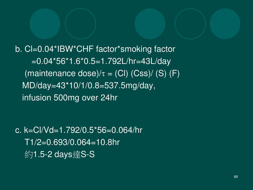 b. Cl=0.04*IBW*CHF factor*smoking factor