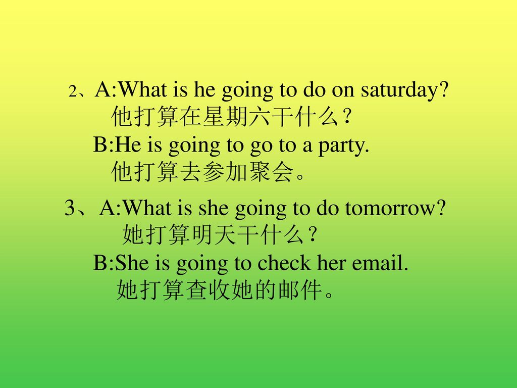 B:He is going to go to a party. 他打算去参加聚会。