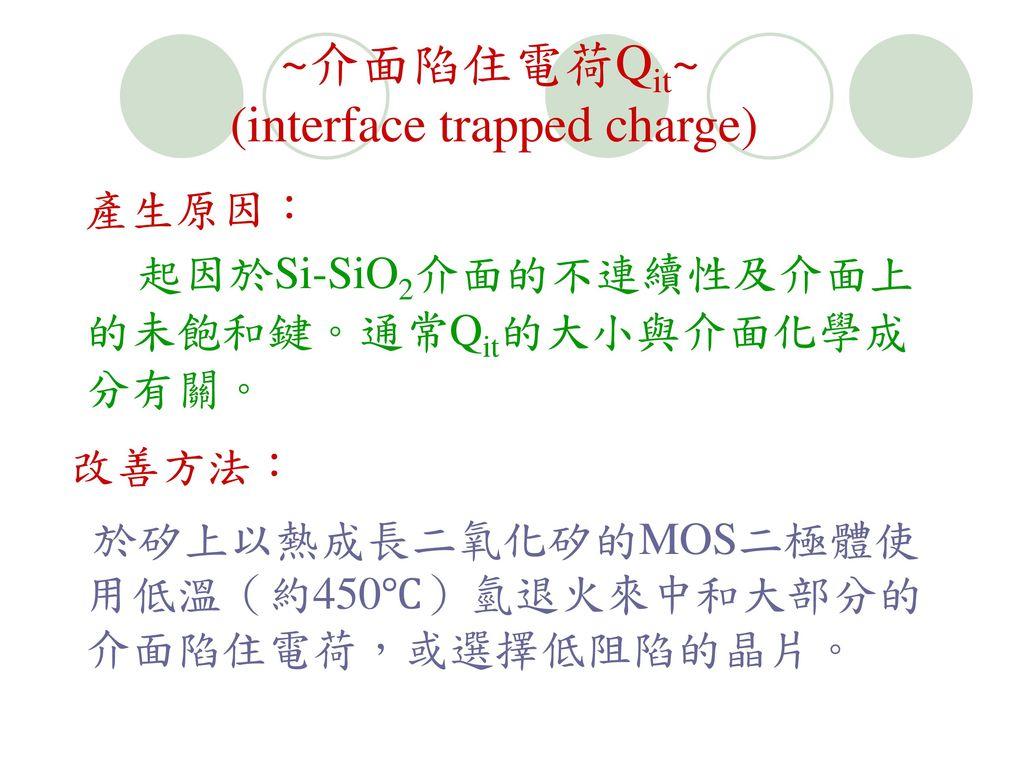 起因於Si-SiO2介面的不連續性及介面上的未飽和鍵。通常Qit的大小與介面化學成分有關。