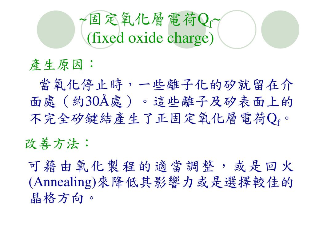 ~固定氧化層電荷Qf~ (fixed oxide charge)