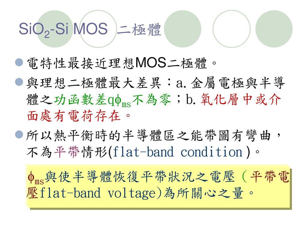 SiO2-Si MOS 二極體 電特性最接近理想MOS二極體。