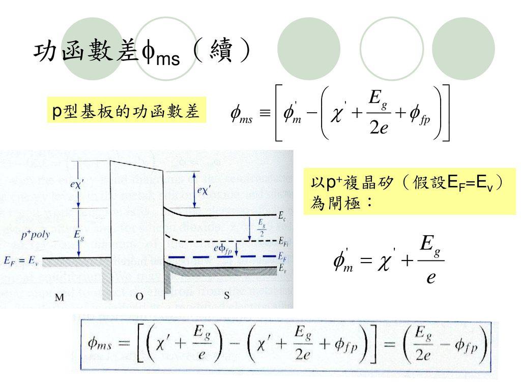 功函數差ms(續) p型基板的功函數差 以p+複晶矽(假設EF=Ev)為閘極: