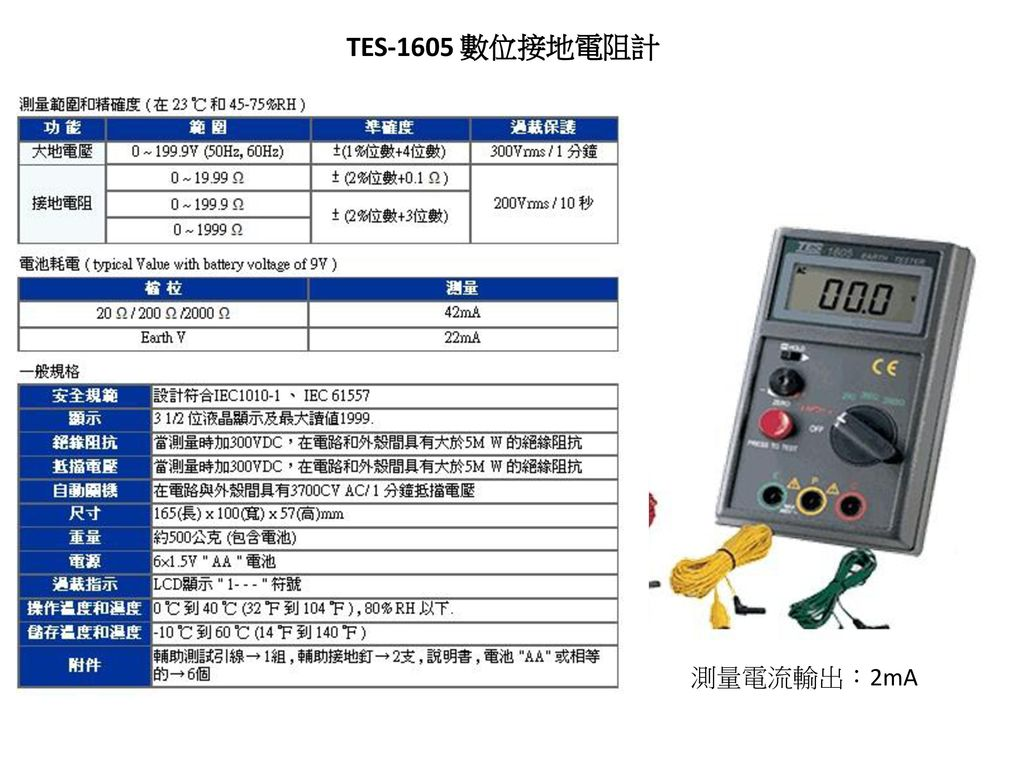 TES-1605 數位接地電阻計 測量電流輸出:2mA